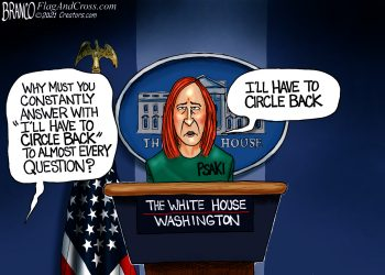 Jen Psaki, Press Secretary, Biden Administration, AF Branco, political cartoons,