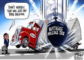 Pete Buttigieg, mileage tax, destroy business, Gary Varvel, Political Cartoons,