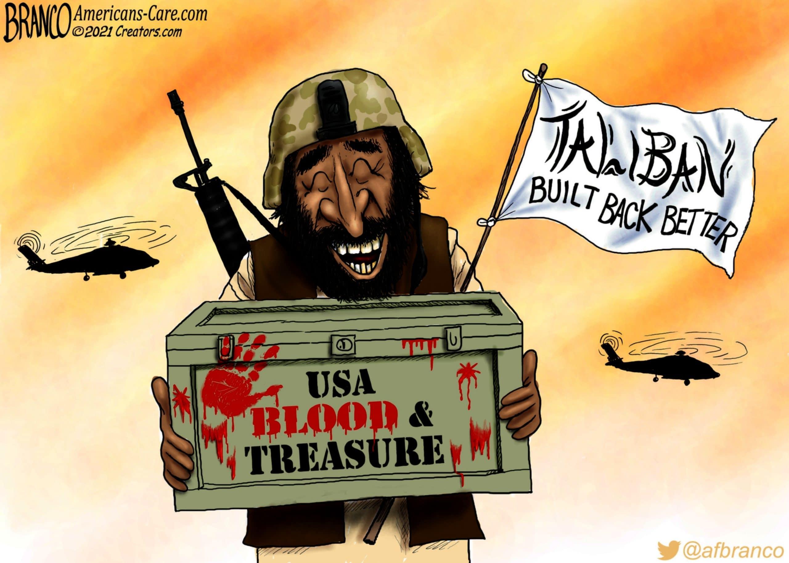 Joe Biden, Build Back Better, Taliban, Afghanistan, AF Branco, Political Cartoons,